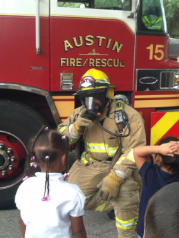 Scholars with the Austin Fire Dept. on Career Day.